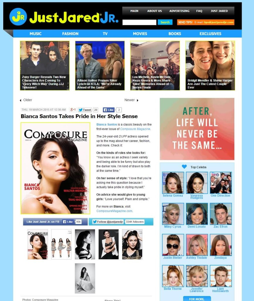 Composure Magazine's Bianca Santos photos and article featured on Just Jared Jr.