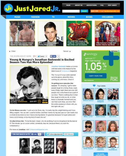 Just Jared Jr. features actress Jonathan Sadowski feature by Composure Magazine