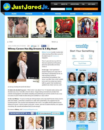 Just Jared Jr. features actress Witney Carson feature by Composure Magazine