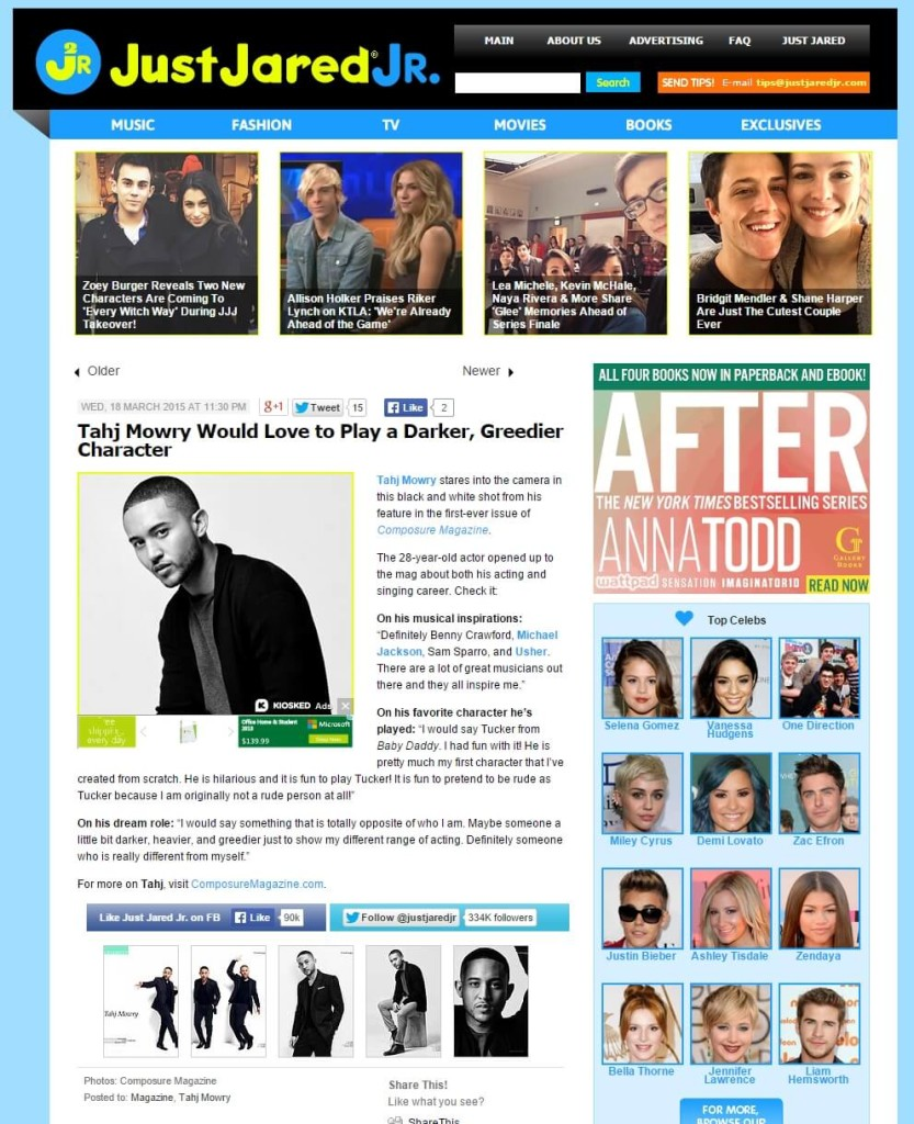 Composure Magazine's Tahj Mowry photos and article featured on Just Jared Jr.