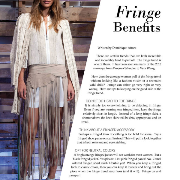 Fashion: Fringe Benefits