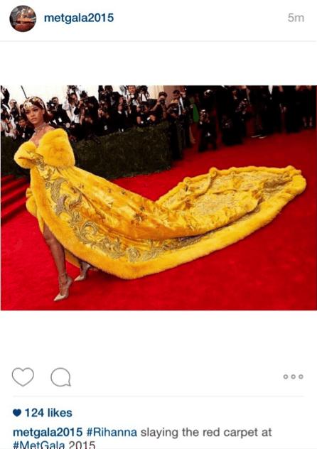 Rihanna wears Dior for The Met Gala 2015