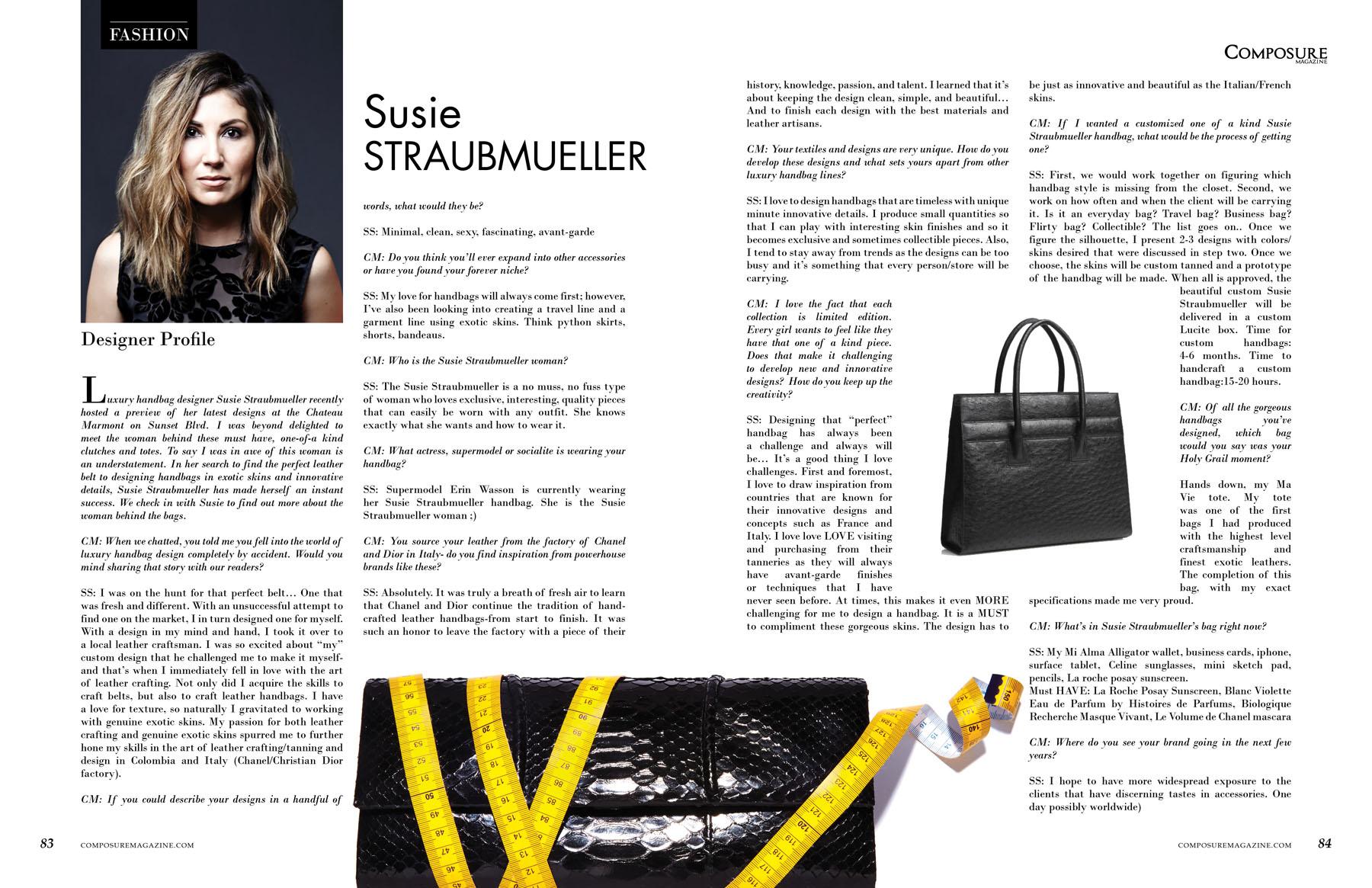 Fashion Designer Profile Susie Straubmueller Composure Magazine