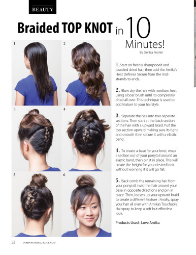 Braided Top Knot hair tutorial