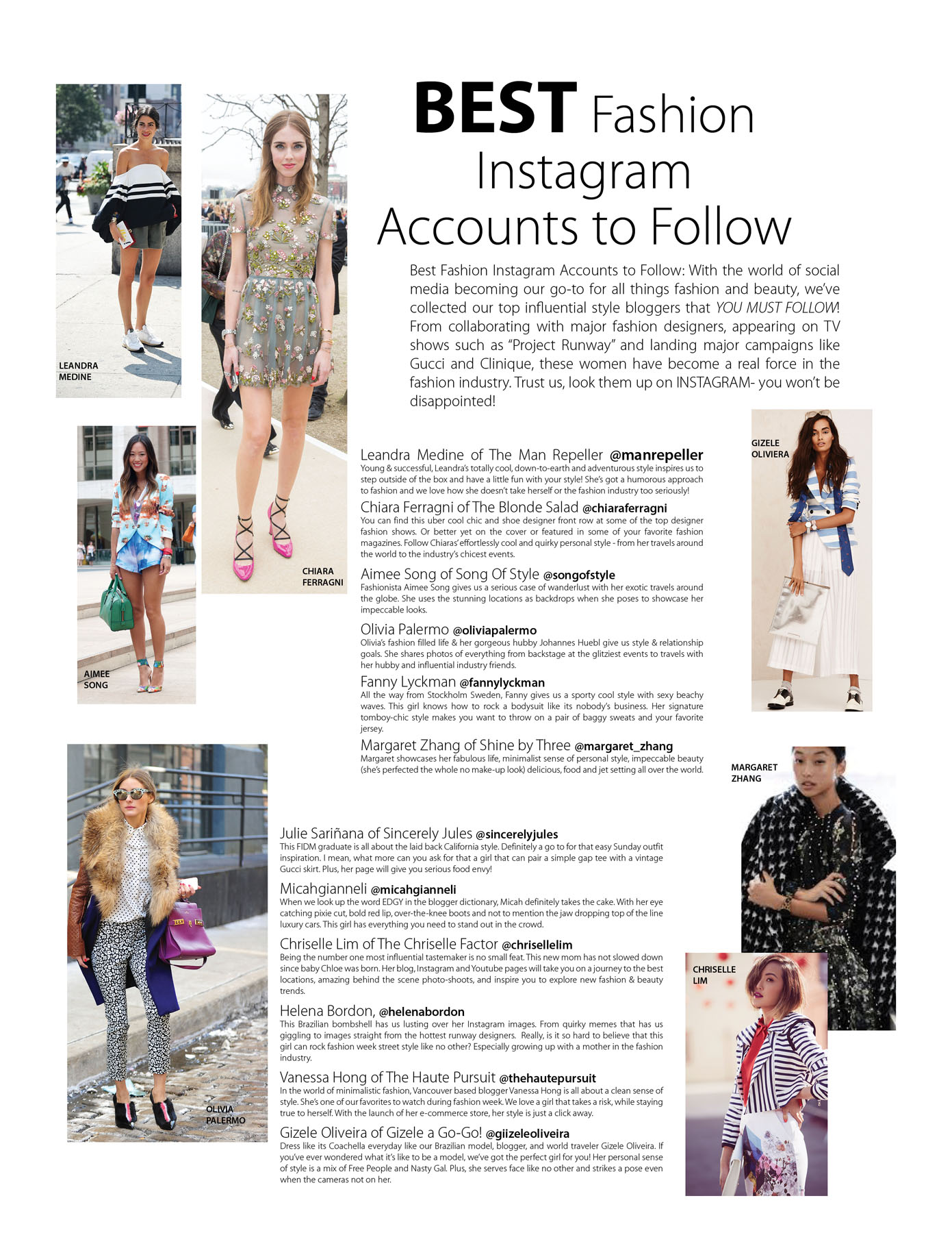 BEST Fashion Instagram Accounts to Follow