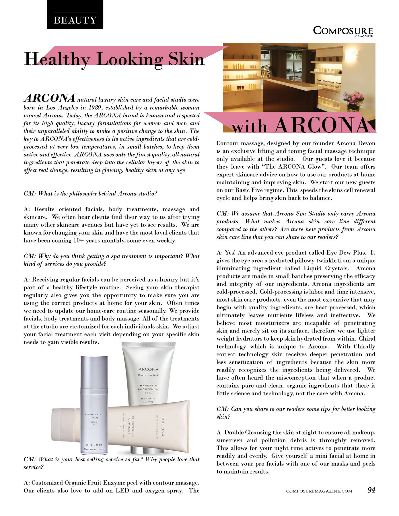 Healthy Looking Skin with ARCONA