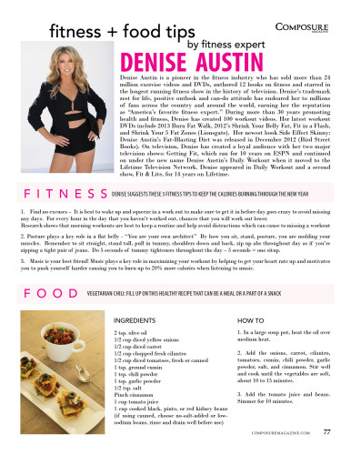 Fitness + Food Tips by fitness expert Denise Austin