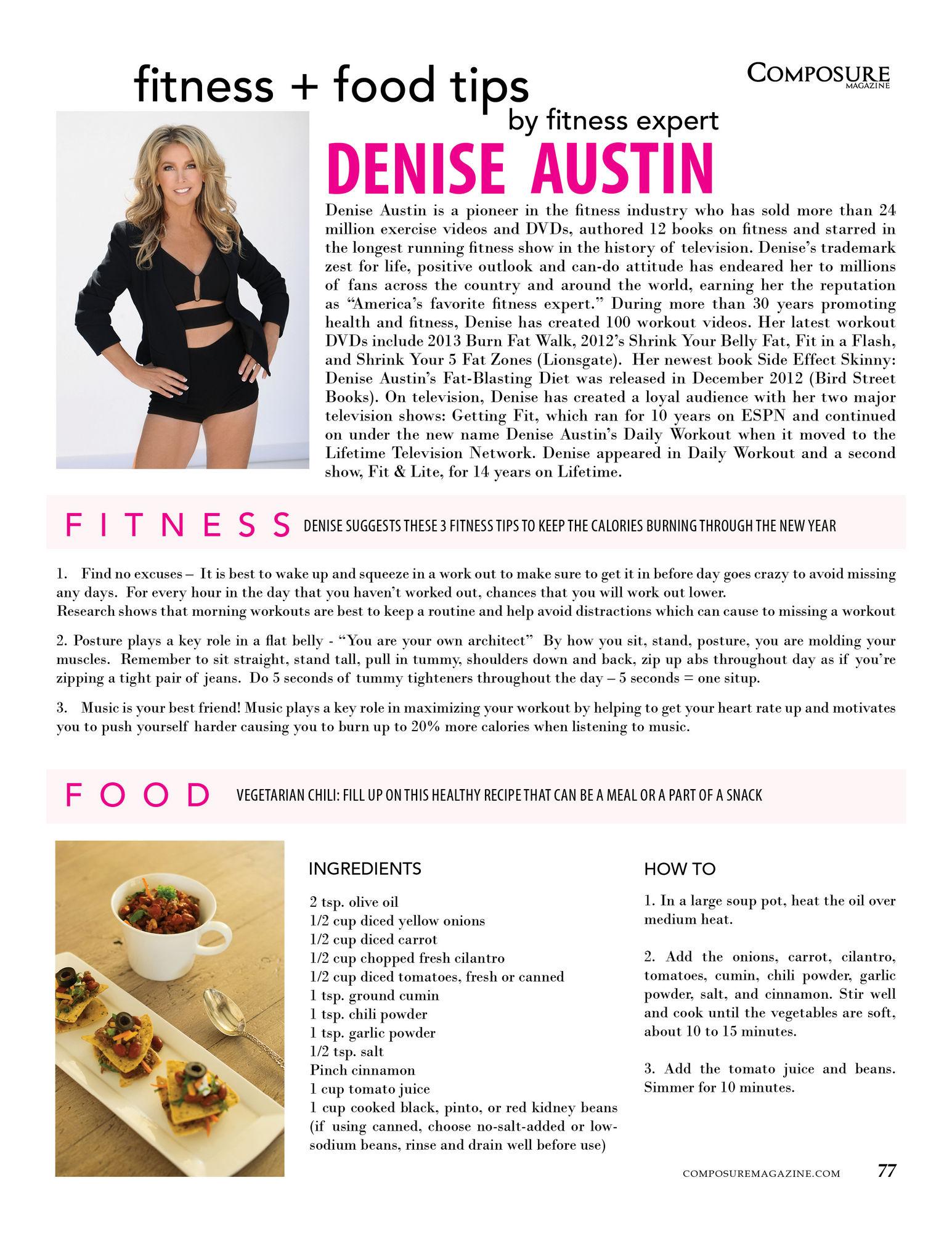 Fitness + Food Tips by fitness expert Denise Austin