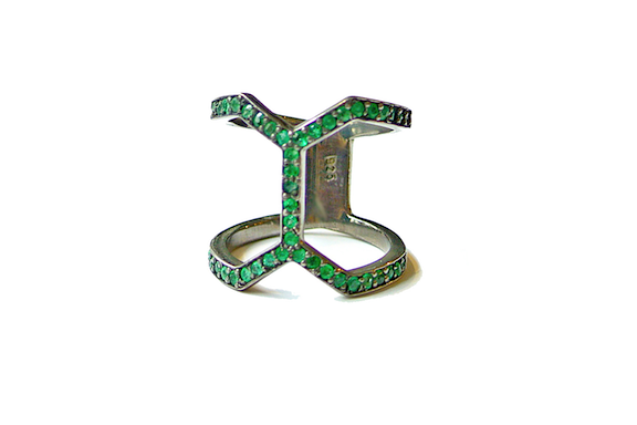 couture inspired greens st patricks day E. Shaw Jewels Emerald Cage Ring, $360, Eshawjewels.com