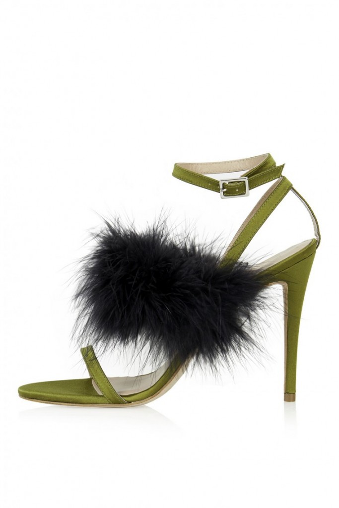 couture inspired greens st patricks day Topshop Unique Catwalk Collection Luxe High Sandal, $175, Topshop.com