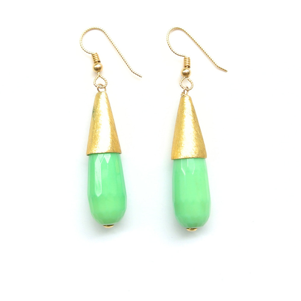 couture inspired greens st patricks day E. Shaw Jewels Spring Drop Earrings in Christophrase, $65, Eshawjewels.com