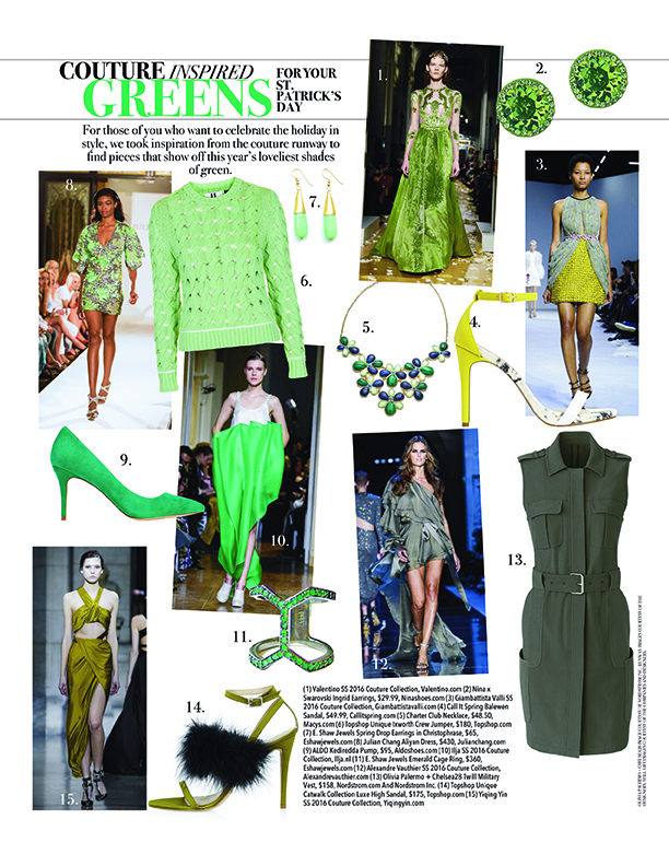 St Patricks Day fashion Couture inspired greens